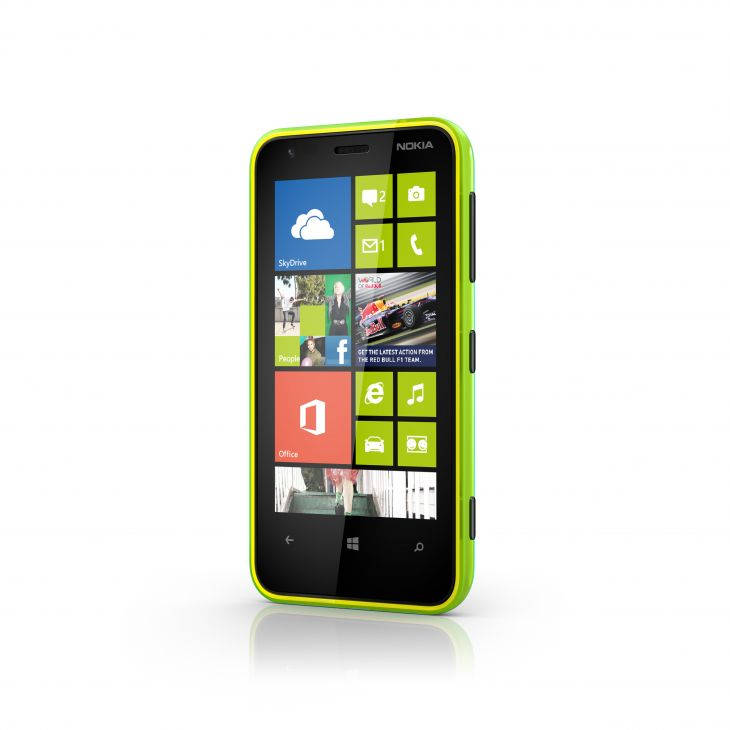 Nokia lumia 620 lime Green front Side View