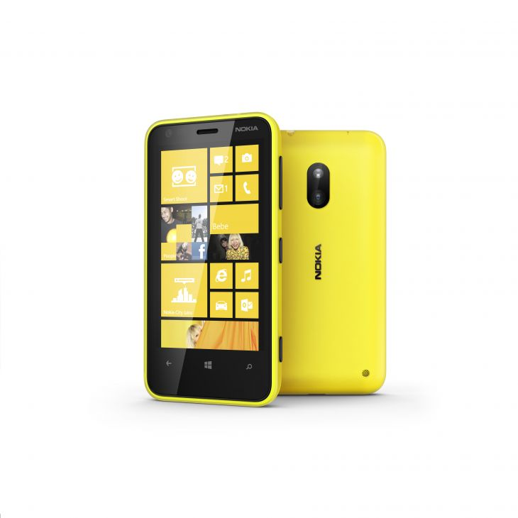 Nokia lumia 620 Yellow front and back Side View