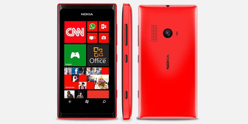 Nokia lumia 505 front Right and back side view
