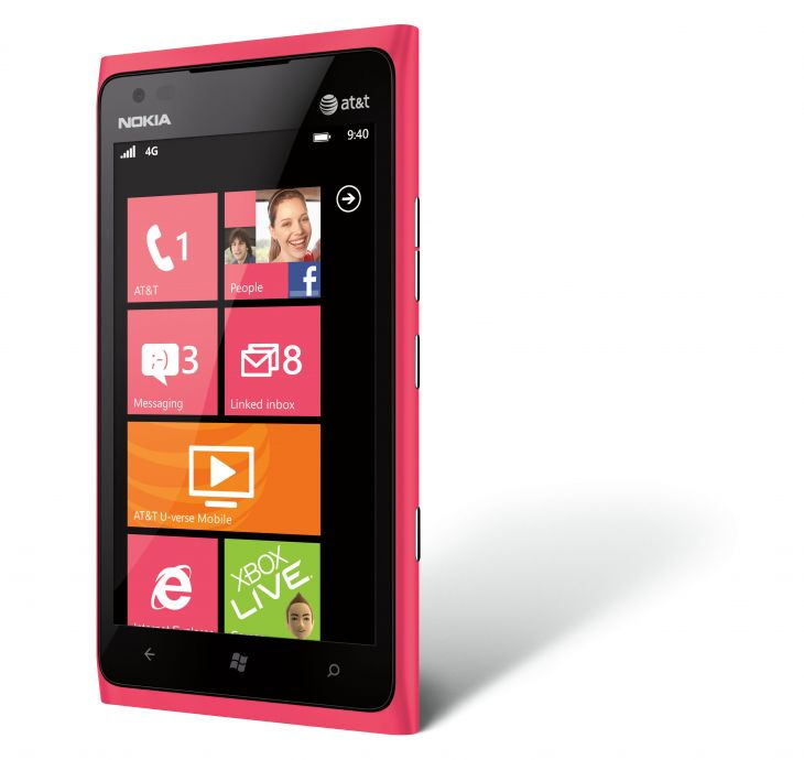 Nokia Lumia 900 Pink front side view