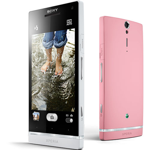 Sony Xperia SL Pink Color Front and Back Side View