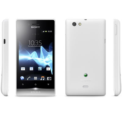 Sony Xperia Miro white Front back right and left Side View
