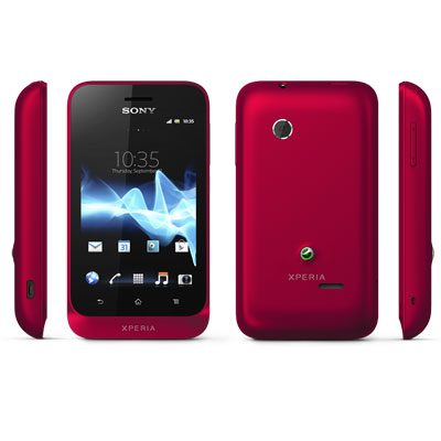 Sony Xperia Tipo Front View back left and right Black Color